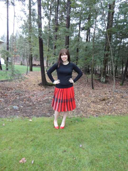 Julie Cadieux: plaid tartan red skirt