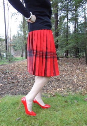 red plaid skirt close up